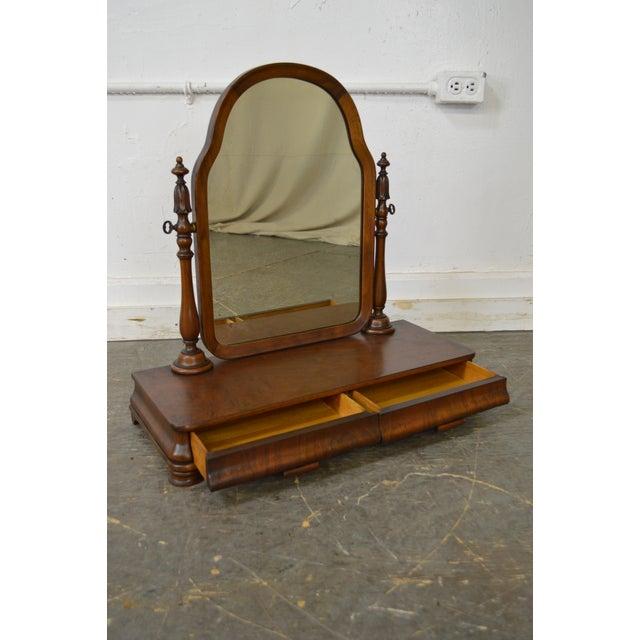 Antique Victorian Walnut 2 Drawer Shaving Mirror - Image 9 of 11