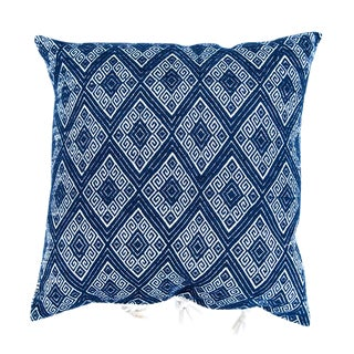 Navy Diamond Handwoven Pillow