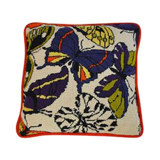 Vintage 1960s Needlepoint Mod Butterfly Pillow