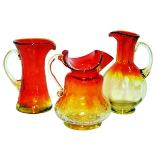 Vintage Amberina Glass Pitchers - Set of 3