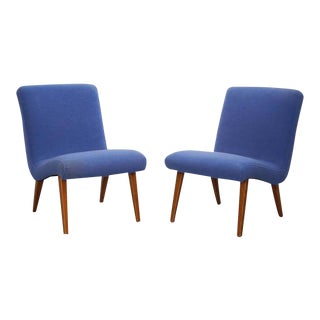Pair of Jens Risom 654 U Lounge Chairs in Blue by Knoll International