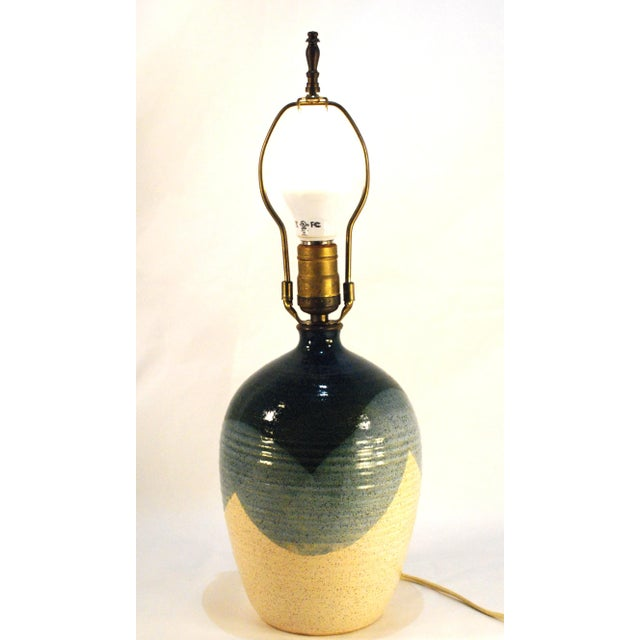 Mid-Century Blue & Tan Pottery Lamp - Image 3 of 7