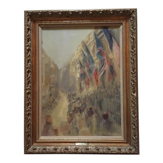"""Mid-Century Oil Painting """"Flags at the Royal Academy"""" by H. B. Darvie"""