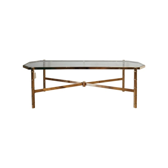 Brass Faux Bamboo Coffee Table: Brass And Glass Faux Bamboo Coffee Table