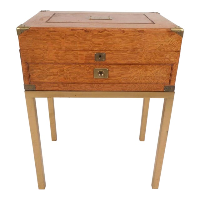 Mid-Century Modern Single Drawer Campaign Style Stand - Image 1 of 11