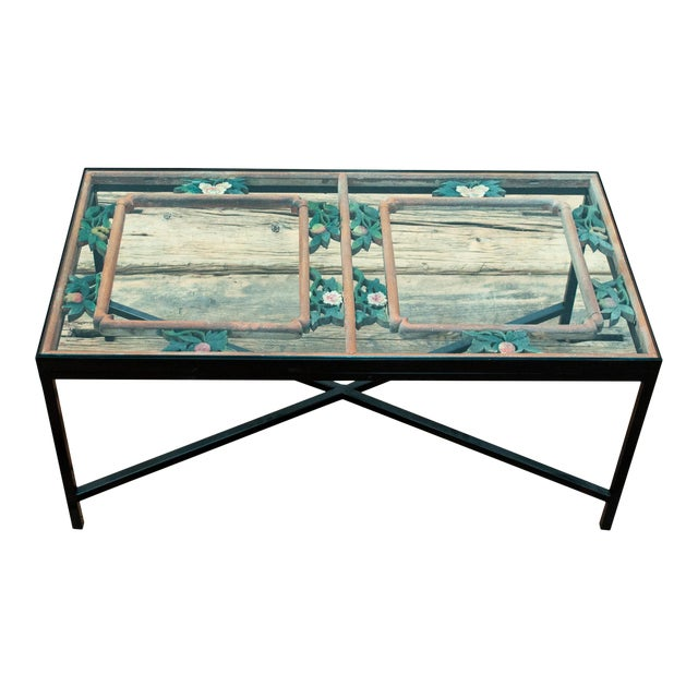 Antique Sarreid LTD Window Framed Coffee Table - Image 1 of 6