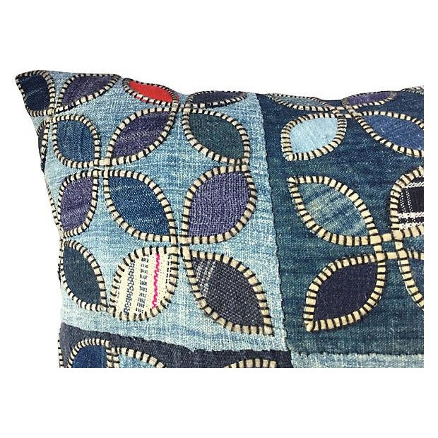 Tribal Indigo Patchwork Quilt Pillow - Image 2 of 5
