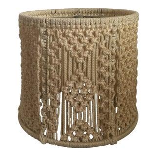 Vintage Boho 1970s Macrame Drum Lampshade