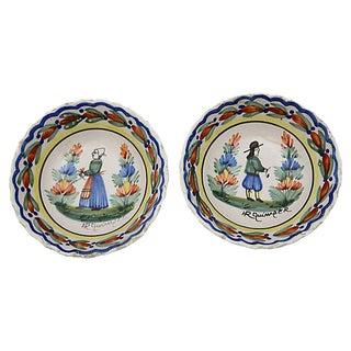Antique French Quimper Bowls - a Pair