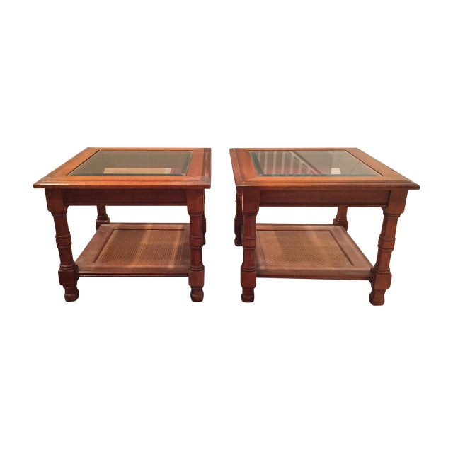 Wood & Glass Side Tables - A Pair - Image 1 of 6