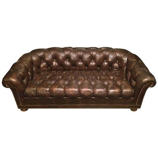 Leather Chesterfield Sofa with Nailhead Trim