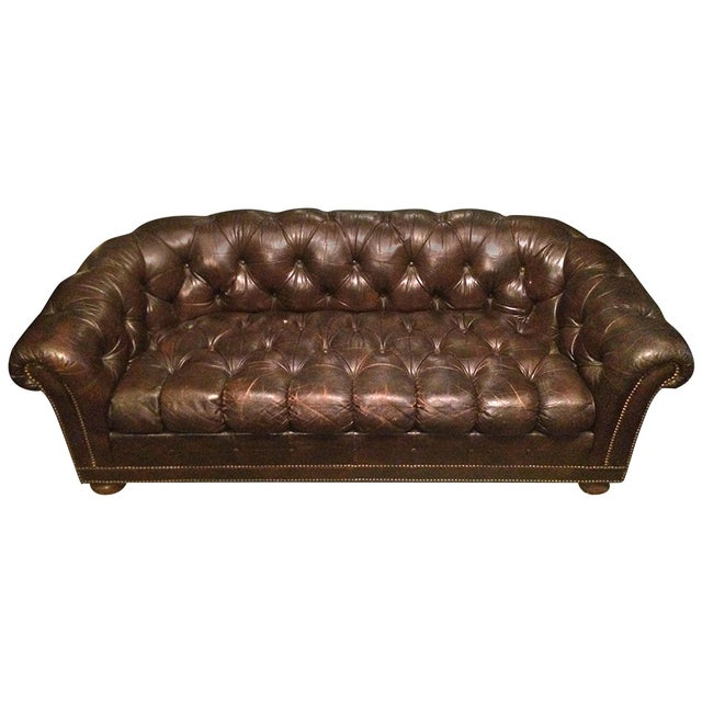 Leather Chesterfield Sofa With Nailhead Trim Chairish