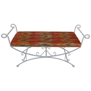 Vintage Metal Bench With Chenille Cushion