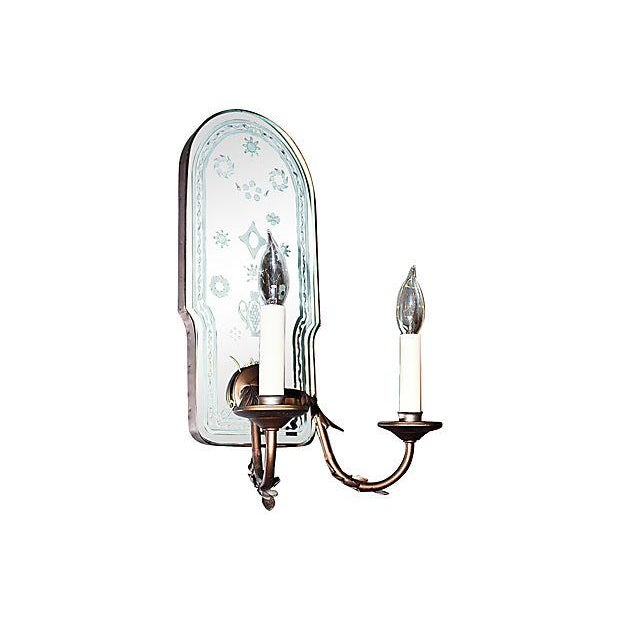 Image of Bronze Metal Mirror-Backed Sconces - A Pair