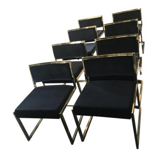 Modern Gold Chrome & Black Dinning Chairs - Set of 8
