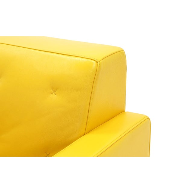 Image of Poltrona Frau Yellow Leather Memory Swivel Lounge Chair