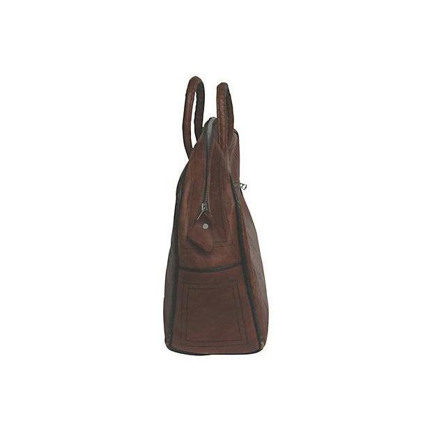 Vintage French Handcrafted Leather Satchel - Image 6 of 9