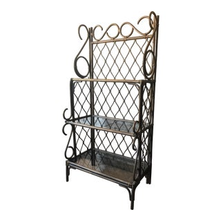 Vintage Bamboo & Glass Etagere