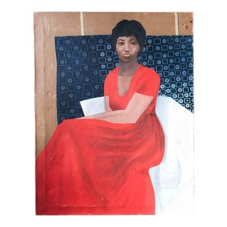 Mid Century Painting - Woman in Red