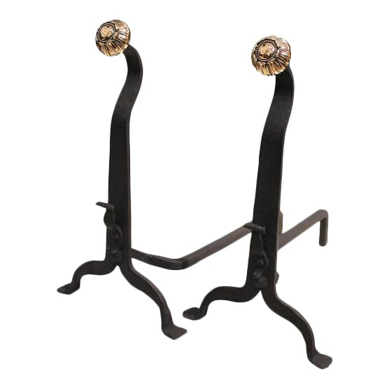 19th Century Wrought Iron and Bronze Art and Crafts Andirons - A Pair - Image 1 of 8