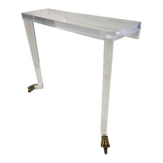 Marvelous Thick Lucite Lions Feet Console Table
