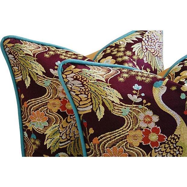 Image of Designer Embroidered Crane Pillows - Pair
