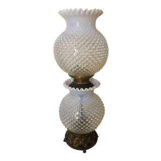 Fenton Hobnail Gone with Wind Lamp