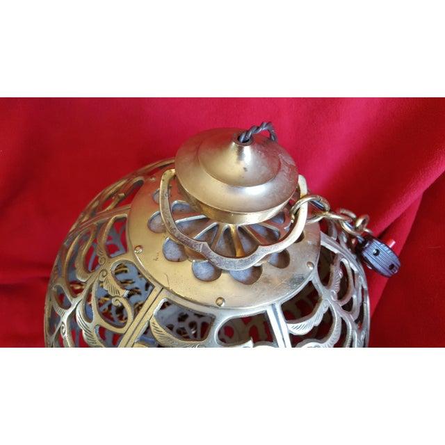 Vintage Asian Brass Pierced Globe Lantern - Image 7 of 7