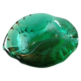 Vintage Green Blenko Art Glass Dish