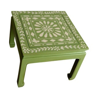 Green Side Table with Hand Painted Design