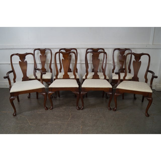 Hickory Chair Queen Anne Style Solid Mahogany Dining Chairs Set Of 8 Chairish