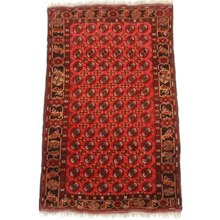 "Hand Knotted Wool Afghan Turkman Rug - 4'7"" x 7'6"""