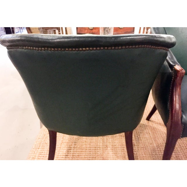 Green Barrel Chairs, Nail Head Trim - Pair - Image 7 of 9