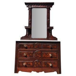 Antique Eastlake Victorian Carved Walnut Marble Top Dresser