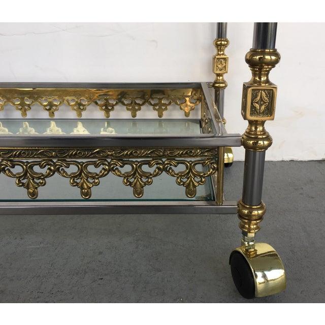 Modern and Classic Italian Brass & Glass Bar Cart - Image 5 of 8