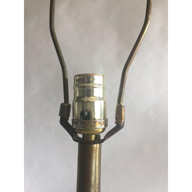 Vintage Gold Toned Metal & Wood Veneered Table Lamp - Image 9 of 11