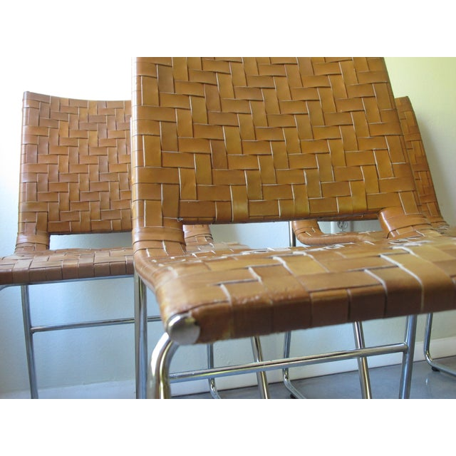 Modern Woven Leather Dining Chairs - Set of 4 - Image 3 of 8