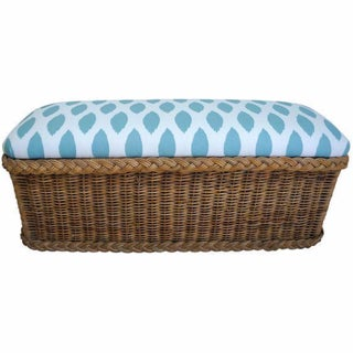 Vintage Upholstered Wicker Bench