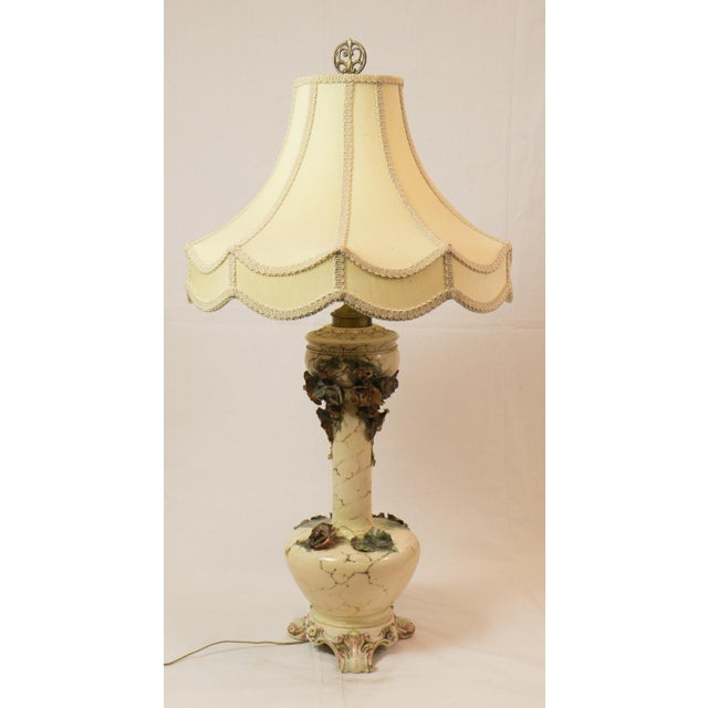 Majolica French Pottery Lamp - Image 3 of 8