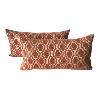 "Vintage 26""Orange Velvet Lumbar Pillows - a Pair"