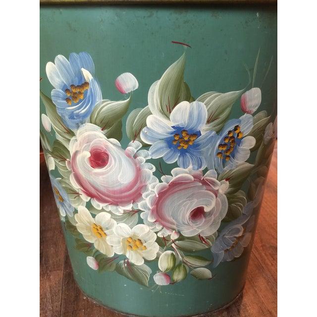 Vintage Tole Waste Basket with Gold Metal Trim - Image 5 of 10