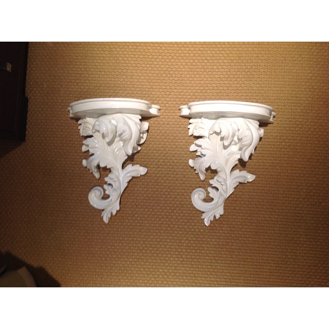 White Rococco-Style Wall Shelves - A Pair - Image 2 of 5