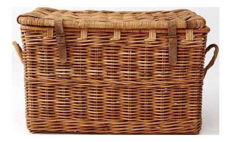vintage wicker storage trunk