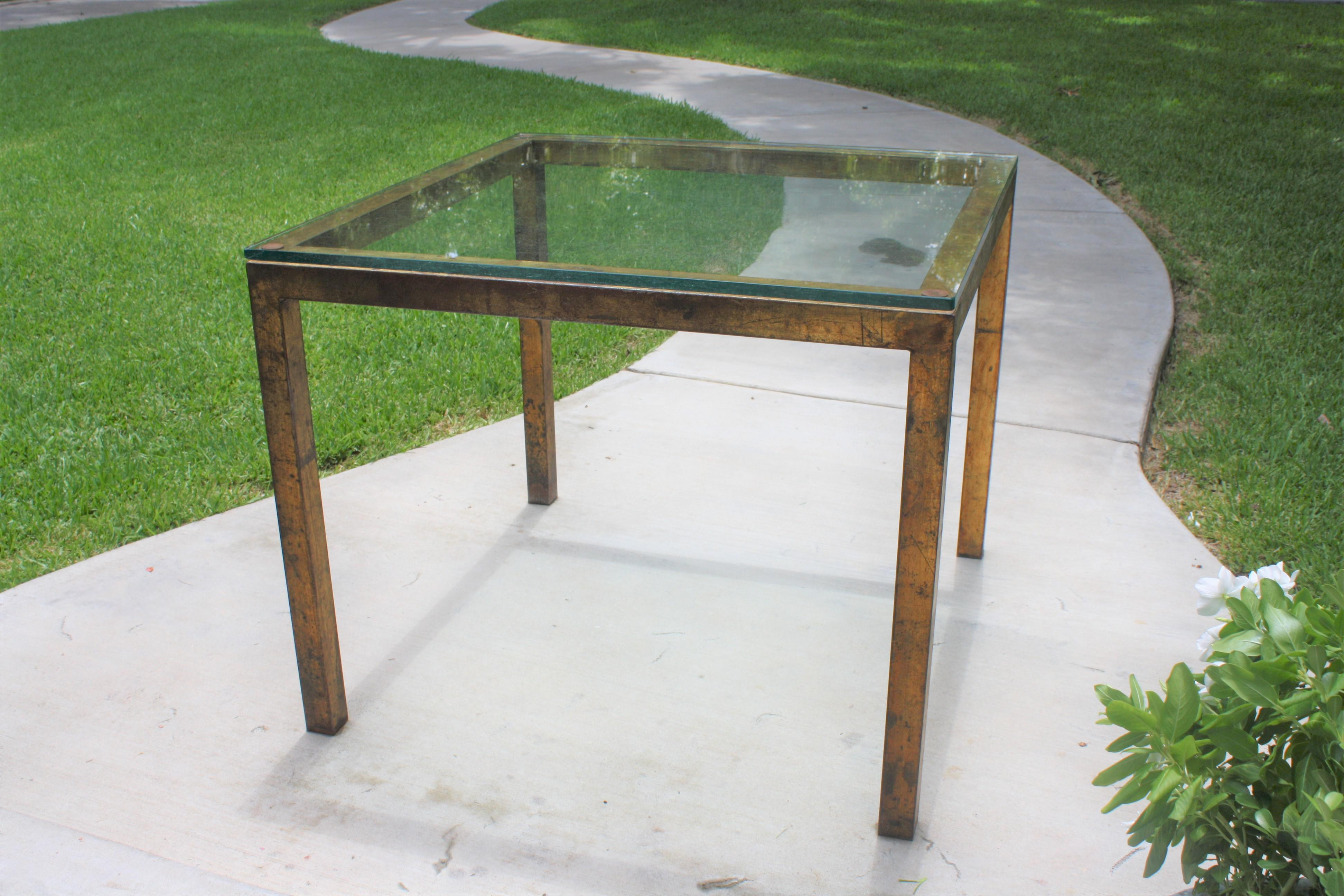 Vintage Modernist Gilt Metal Parsons Table With Thick Glass Top   Image 3  Of 10