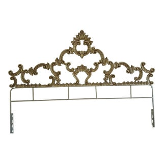 Antique Silver Leaf Scrolled King Headboard