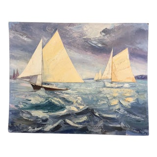 Fabulous Signed Oil on Canvas Board Seascape With Sailboats - #3