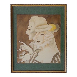 Vintage 20th C. Signed Sepia Painting