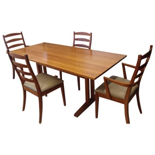 Thos. Moser Trestle Dining Table & Chairs - S/5