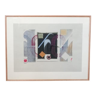 Post Mid-Century Abstract Print Signed Heumann