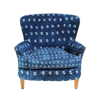 Indigo Mud Cloth Club Chair